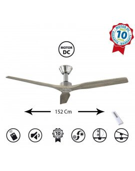 Ventilador de techo modelo Kosten de 132 cm, motor DC, hiper silencioso, potente con placa LED de 3 tonos