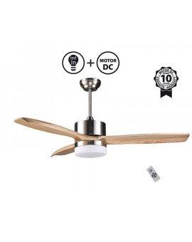 Ventilador de techo Arime Light de 132 cm. Con motor DC , palas de madera maciza y KIT de LUZ LED 18W 1600lm
